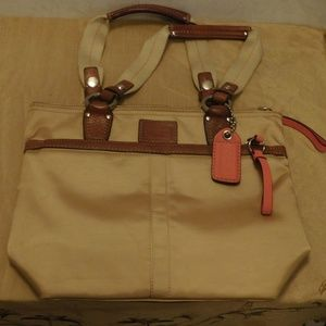 Champagne colored Silk Coach handbag w/pink accent